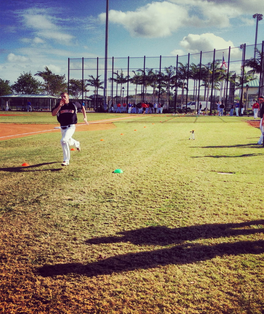 Jorin van Amstel runs the 60 for college coaches and scouts at the 2013 Showcase
