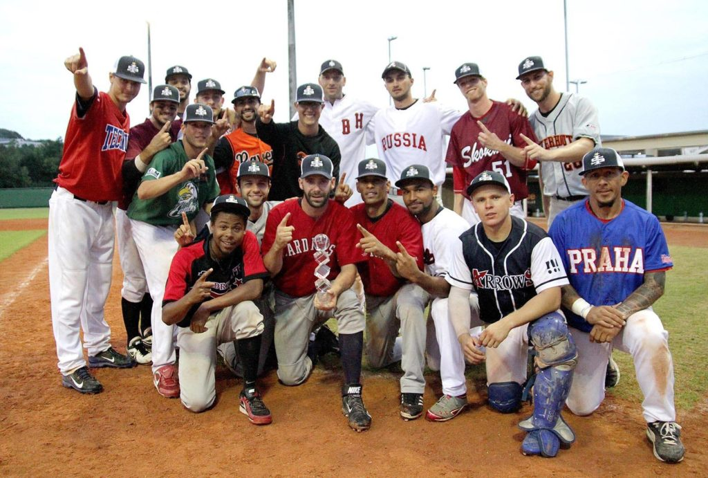 Jack (back row, 2nd from right) and the 2014 International Stars - Prague Baseball Week Champs
