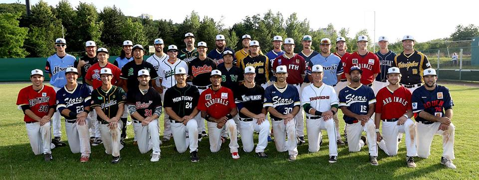 International Stars 2016 at Prague Baseball Week wearing their home club jerseys (photo by Jan Benes)